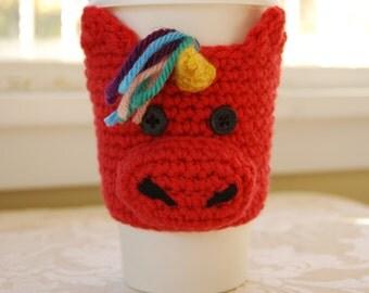 Unicorn Coffee Cozy, Crochet Coffee Cozy, Pink Unicorn, Animal Coffee Cozies, Crocheted Unicorn Cozy, Cute Unicorn, Crochet Unicorn