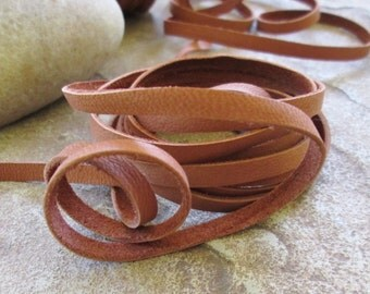 Saddle Brown Deerskin Leather Lace  5 MM Soft Flexible 2 yard Sale