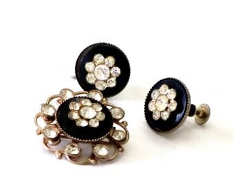 Dainty Victorian Style Black Onyx Rhinestone Filigree Brooch Earrings Set Demi Parure Mothers Day Gifts Under 20