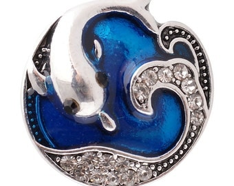 1 PC - 18MM Dolphin Blue Rhinestone Silver Tone Charm for Candy Snap Jewelry KC6147 Cc2603