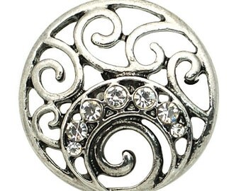 1 PC 18MM White Flourish Rhinestone Silver Candy Snap Charm kb8875 CC1576