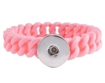 "1 Silicone Bracelet - 7"" Pink Fits 18MM Candy Snap Charm kb9714 CJ0441"