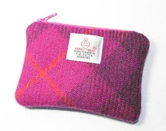 Harris Tweed purse, coin purse, change purse, pink/purple Tartan pattern