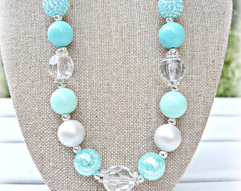 Fancy Bead Aqua.Mints,Silver Necklace/Gift, photo prop and