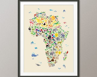 Animal Map of Africa Map for children and kids, Art Print (264)