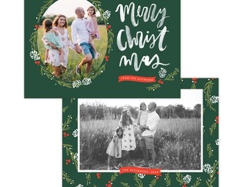 INSTANT DOWNLOAD - Christmas Holiday Card Photoshop template - e1360