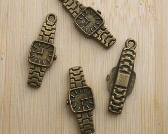 3 Watch Charms Antique Bronze 22 x 8 mm U.S Seller - bz331