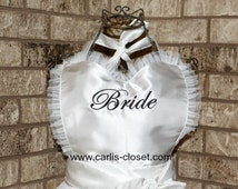 White Bride Wedding Flirty Apron from Carli's Closet