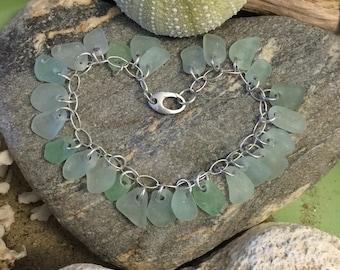 Sea glass jewelry- 26 pieces of sea foam green sea glass on a sterling silver bracelet