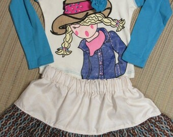 Cowgirl/Western Twirly Skirt Set w/ Shirt-Size 2-Turquoise/Brown/Flowers/Sparkles-Too Cute!