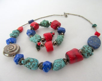 Turquoise Red Howlite Necklace Bracelet - Beads Boho - Liquid Silver