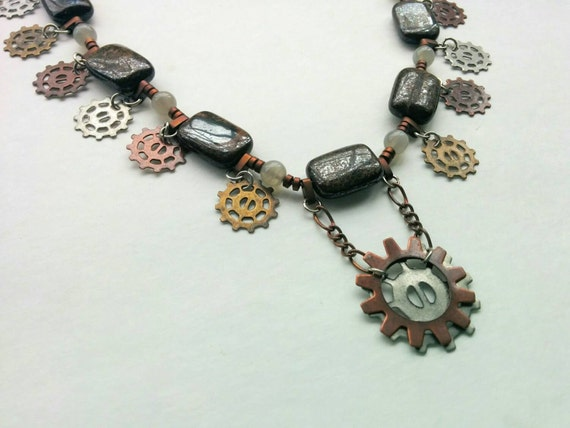 Steam punk Necklace of Mixed Metal Gears and Cogs with Brown Stone Beads