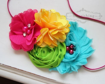 Hot Pink, Yellow and Turquoise headband, rosette headbands,newborn headbands, green headbands, summer headbands,photography prop