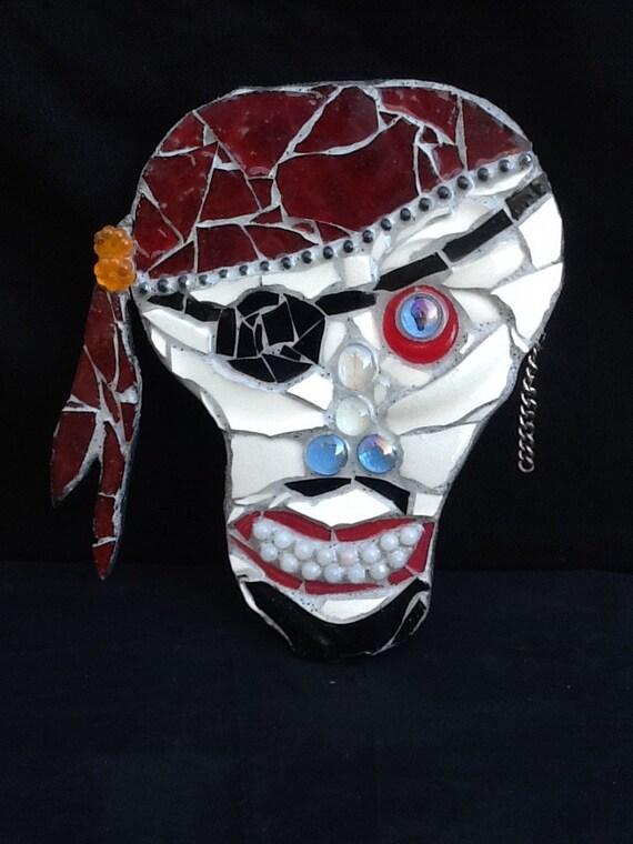 Skull Man Cave Decor : Pirate skull mosaic wall art home decor unique gift idea