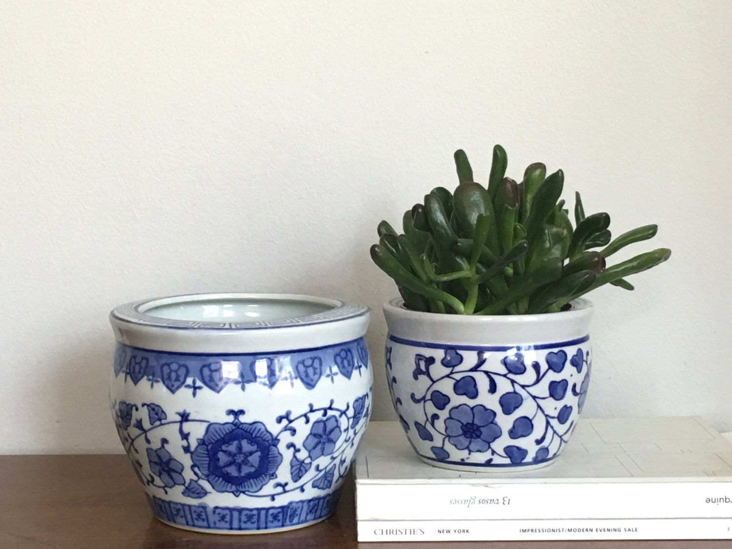 blue and white planters - Etsy