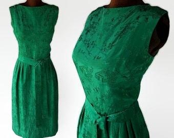 50s Neiman Marcus Silk Wiggle Dress Emeral Green Oriental Print