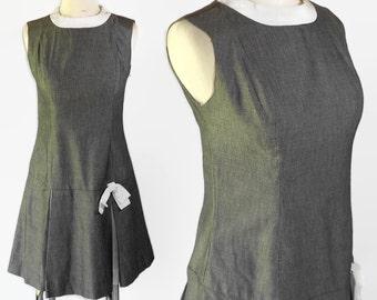 60s Scooter Dress Gray White Pleated Skirt Metal Zipper