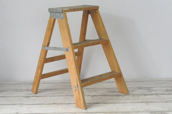 Vintage Wood Ladder Step Ladder Step Stool 2 Foot Ladder
