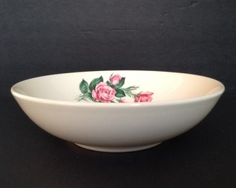 """9"""" Serving Bowl Ballerina Pattern Universal Potteries Pink/Red Rose Bud Union Made in USA Oven-Proof"""