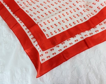 Vintage silk scarf- Red White graphic- Neckerchief- Women's scarf- monogram T- 21 inches square