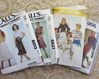 Vintage Sewing Patterns- Set of Four Vintage 1970's- Women's sizes Large- 14-16-18- Dresses, Blouses, Shirt- some UNUSED