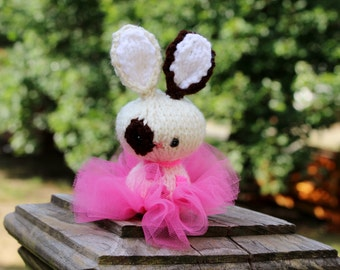 Knit Rabbit Doll toy or Car Mirror Decoration - Miniature Amigurumi balerina tutu bunny