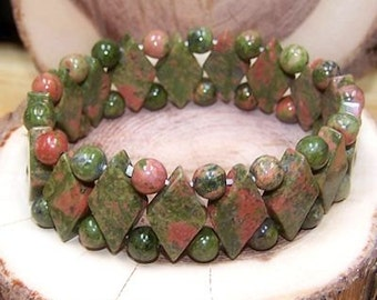 Unakite stretch bracelet - One size fits most - Genuine natural stone -Gifts for her - Gifts for him
