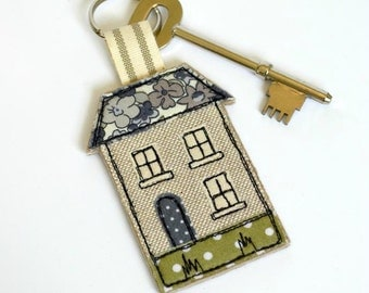 House key-ring - house keyfob - house keyring - house keychain - house warming gift - house key ring decorated with applique and embroidery