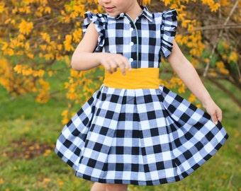 Girls Back to School Dress - Girls Birthday Dress - Plaid Dress - Girls Black Dress - Black and White Dress - Toddler Dress - Bow Headband