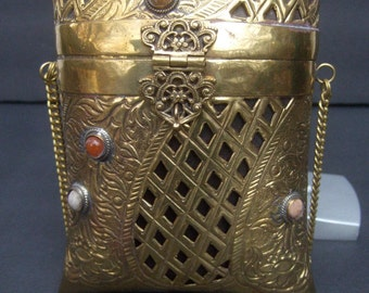 Exotic Brass Metal Repousse Evening Bag c 1980s