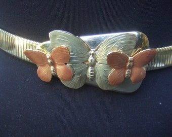 Charming Gilt Metal Butterfly Buckle Stretch Belt c 1980s