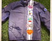 Insanely Cool Vintage 70s FORD COBRA Navy Blue Racing Jacket with Awesome Vintage Patches and Fleece Fur Lining - Size Large