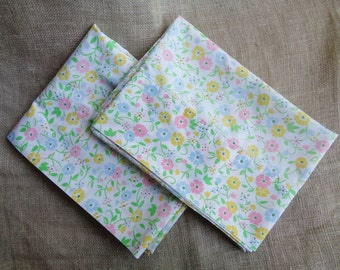 1960s Pillowcases Set of Two Pastel Floral A Bit Faded But Cute