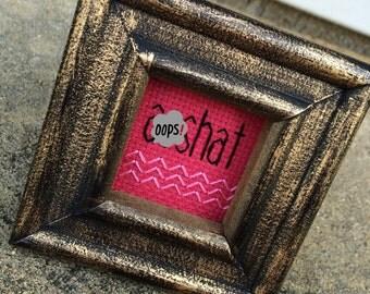 Mini Distressed Gold Framed Cross Stitch - Asshat