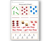 FRENCH WORKSHEET about NUMBERS-Primary Resources,KS1 KS2,Learn the Numbers 1 to 10 in French,Learn To Count with Counting Worksheet