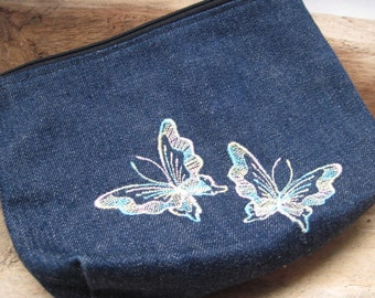 Vintage Denim Cosmetic Bag With Embroidered Butterflies