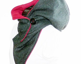 Hooded scarf black marl - bordeaux