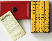 1940s Crisloid Top Grade Domios Set in Original Celluloid Box with Original Rules of Play & Instructions.  Bakelite.  Complete Set of 28.