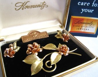 SALE Original KREMENTZ Boxed Set of 14K Gold Overlay (Rose and Yellow) Mid Century Brooch with Screw Back Earrings in Flower & Lear Design