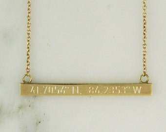 Solid 18k Gold Bar Necklace - Personalized Necklace - Coordinate Necklace - Custom Name Necklace