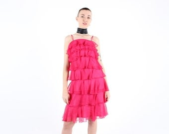 Amazing 60s Origami Cascading Layered Ruffle Hot Bright Pink / Fuschia Party Cocktail Dress- V Carrie!