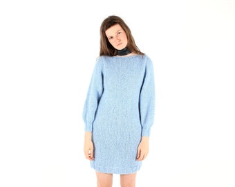 80s Pastel Baby Blue Hand Knit Wool Slouchy / Oversized Bubble Sleeve Knit Sweater Dress