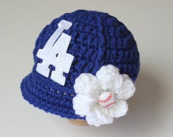 Baby LA Dodgers - Hat - Knitted / Crochet - Baby Girl Gift / Newborn - Photo Photography Prop - Baseball