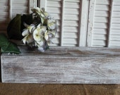 "Rectangular Box, Wedding Centerpiece 36""L box, White Distressed Cottage Chic Box, Center Piece, Wedding Decor, Wooden Planter Box"