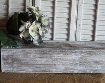 "Rectangular Box, Wedding Centerpiece 36""L box, White Distressed Cottage Chic Box, Center Piece, Wedding Decor, Wooden Planter Box"