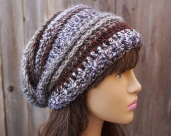 Crochet Hat - Slouchy Hat -Multicolored-Color Changing Yarn, Winter Accessories Autumn Accessories Fall Fashion