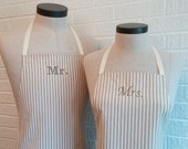 Khaki Stripe Mr & Mrs Apron Set with Pocket FREE SHIPPING - Husband and Wife, Brown Tan and Cream Ivory Stripe, Wedding Shower Gift Idea