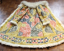 Afghan embroidered long coat from 60's 70's hippie era ethnic penny lane shearling sheepskin rare embroidery leather suede silk ethnic