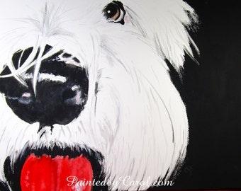Old English Sheepdog Original Painting, OES Art, Dulux Dog Painting, Sheepdog Watercolor, Sheepdog Wall Art, Sheepdog Painting