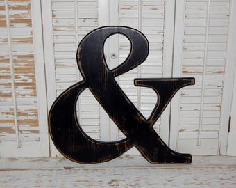 "Large Wood Ampersand  ""&"" Sign Symbol Distressed 18 Inch Choose Color"